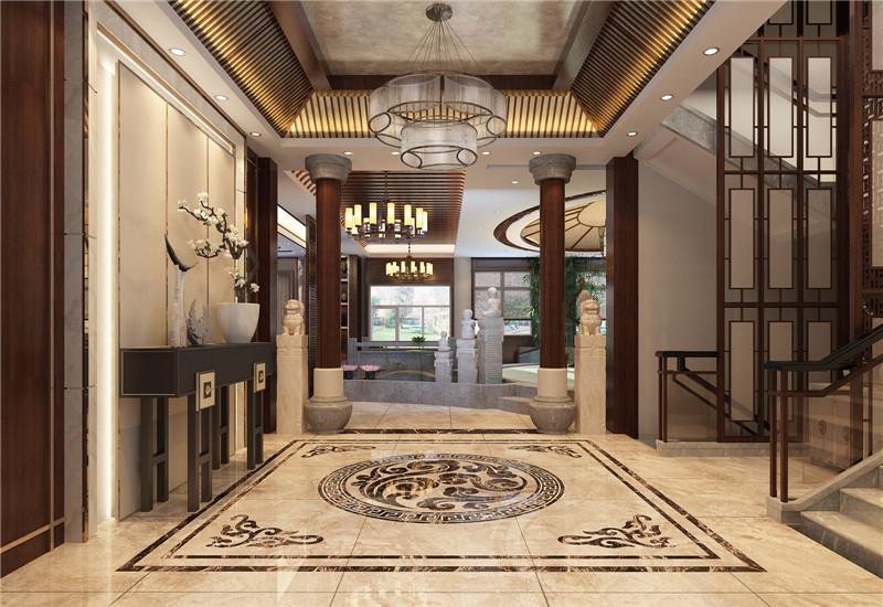 龙发装饰 别墅 中式 新中式 鸿雁岛 客厅图片来自龙发装饰天津公司在鸿雁岛800平米新中式风格的分享