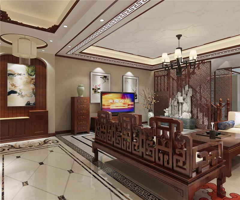 龙发装饰 润泽尚苑 别墅 中式 美式 客厅图片来自龙发装饰天津公司在润泽尚苑280平米新中式风格的分享
