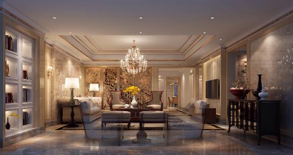 沙发背景天然玉石拼花、入户玄关的彩雕玉、铜雕屏风、精美的金蓝玉石、华丽的吊顶...... 细微之处塑造精致唯美,在此与家人共度美好的生活。