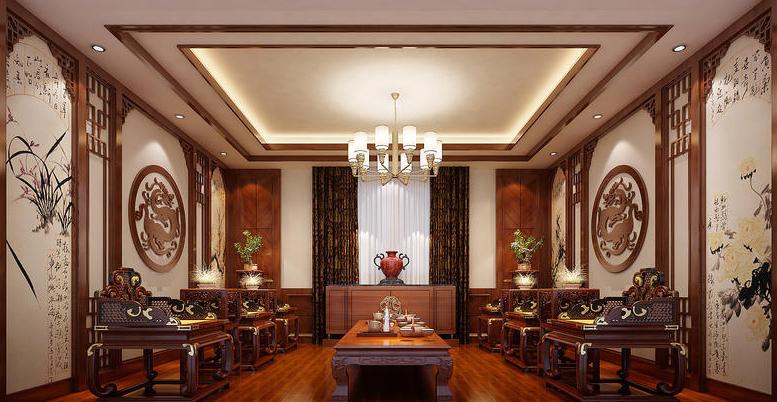 别墅 装修 中式 欧式 生活 客厅图片来自严金玉在星艺瑞家U品620平经典中式案例的分享