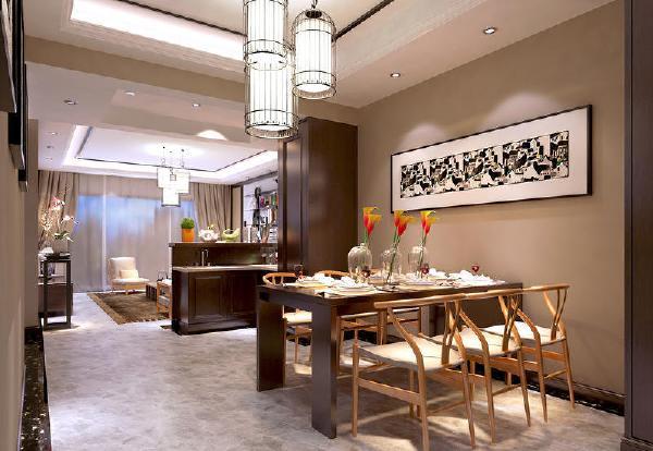 保利溪湖250平新中式风格装修餐厅