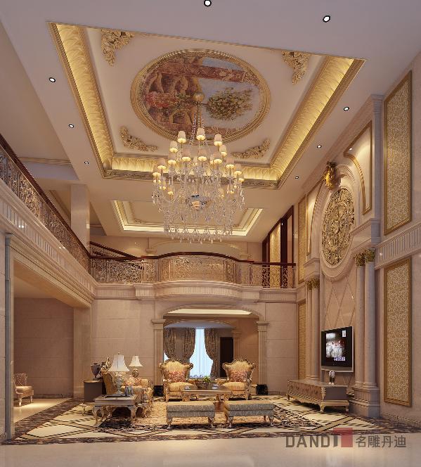 客厅以突出轴线的对称,恢宏的气势、温馨示人,豪华舒适的居住空间。在细节处理上运用了法式廊柱、雕花、线条,制作工艺精细考究。简练直挺而富有生命悦动感的迷人线条。