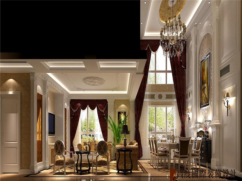 欧式 现代 豪华 大气 公寓 客厅图片来自北京高度国际装饰在鲁能七号院190欧式的分享