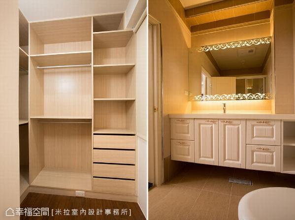 收纳空间做满到天花处,提升更衣室藏物机能;卫浴以饭店式设计打造,形塑顶级舒适氛围。