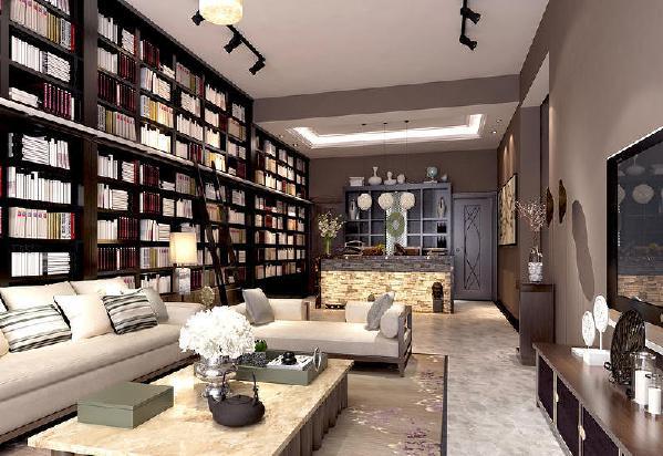 保利溪湖250平新中式风格装修客厅