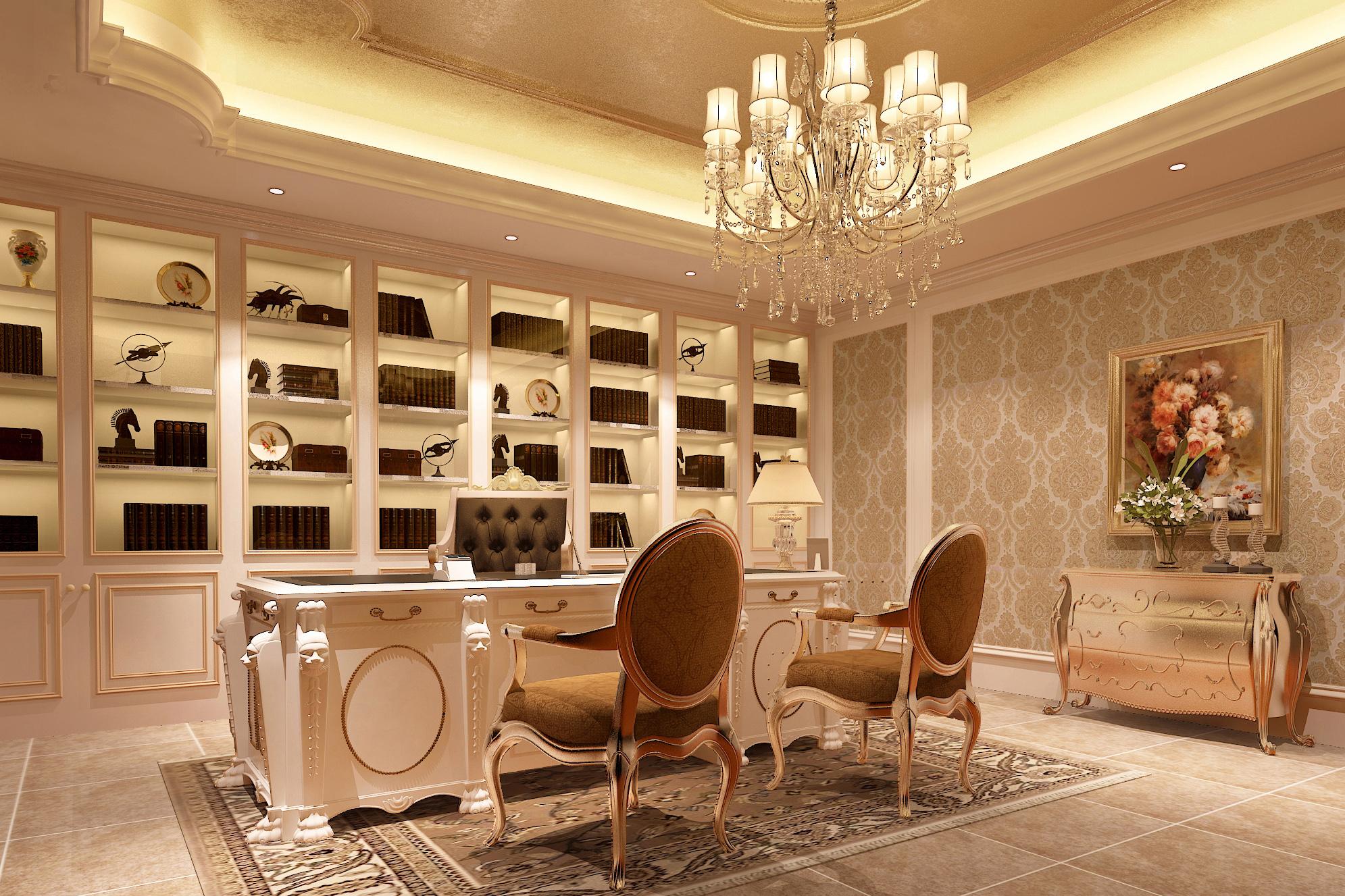 别墅 美式 书房图片来自轻舟装饰-90后的华仔在格拉斯小镇-1000平米-美式风格的分享