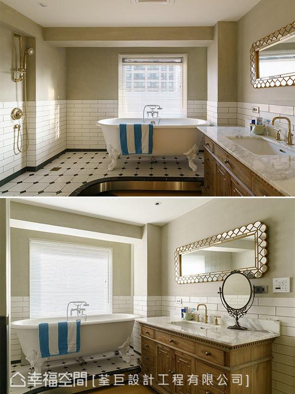 将睡眠区的木地板延伸入卫浴内,让行动与使用上更加便利,并架高淋浴区地坪,除了隐藏管线之外,也打破卧室和卫浴在空间规划上的既定印象。