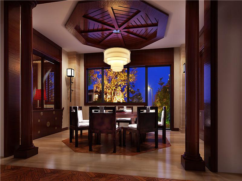 龙发装饰 芳堤花园 别墅 中式 新中式 装修设计 餐厅图片来自龙发装饰天津公司在芳堤花园380平米新中式风格的分享