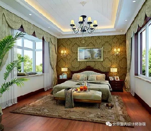 主卧室使用了深色地板,深咖色床头背景墙,让卧室感觉非常安静温馨。