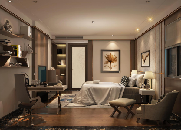 卧室简单的线条之中融入极具意境的中国水墨画,韵味十足。黑白格调的主卫诠释极致简约,又含多变的风情。