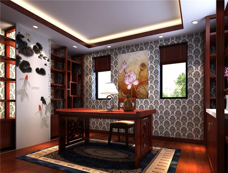 龙发装饰 芳堤花园 别墅 中式 新中式 装修设计 书房图片来自龙发装饰天津公司在芳堤花园380平米新中式风格的分享
