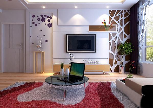 客厅电视墙要以简约时尚为主题,运用了块儿的划分和镜面镂空的设计感,左边的手绘和右边的镜面镂空造型是对称的,中间石膏板的勾缝会有拉伸的感觉,让整面电视墙明亮温馨。