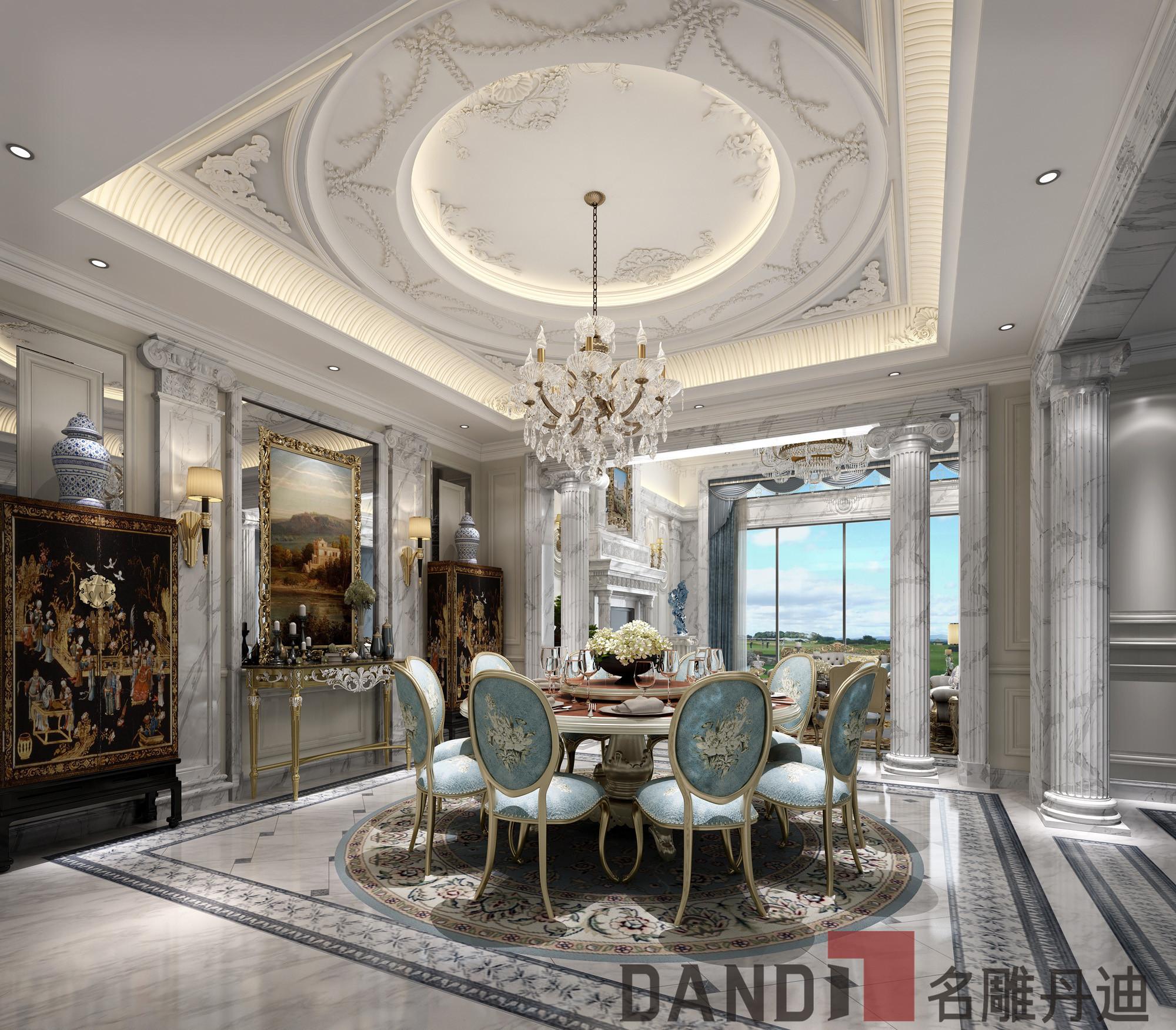 欧式 别墅 白领 小资 餐厅图片来自名雕丹迪在欧式风格1000㎡观澜高尔夫别墅的分享