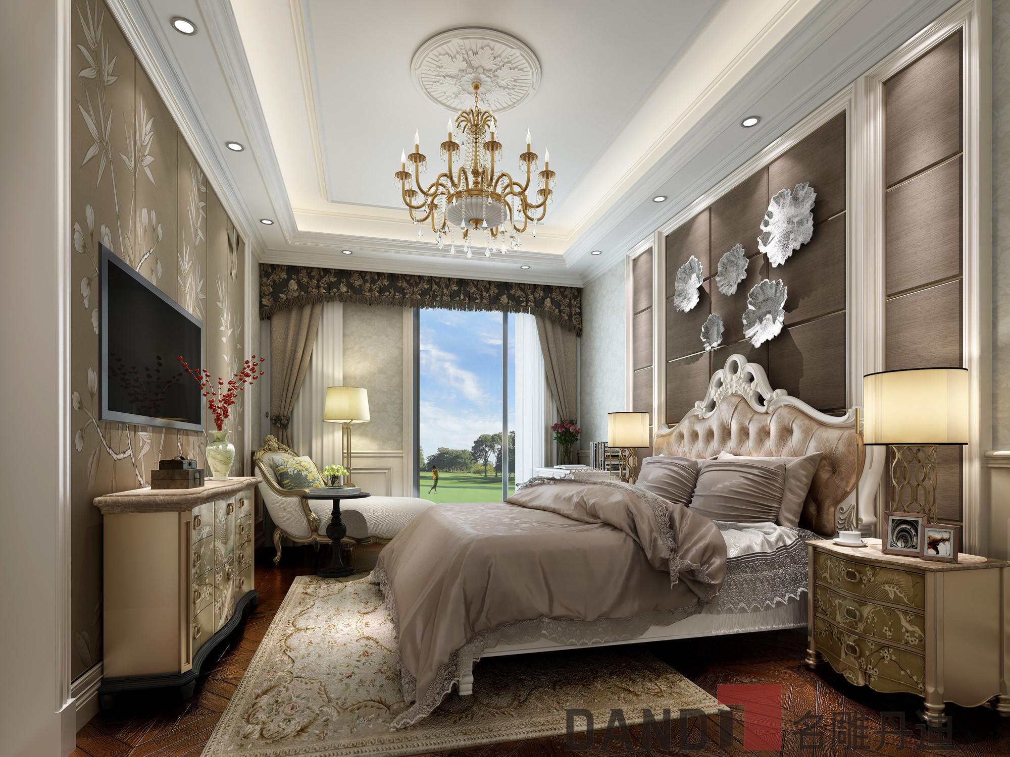 欧式 别墅 白领 小资 卧室图片来自名雕丹迪在欧式风格1000㎡观澜高尔夫别墅的分享