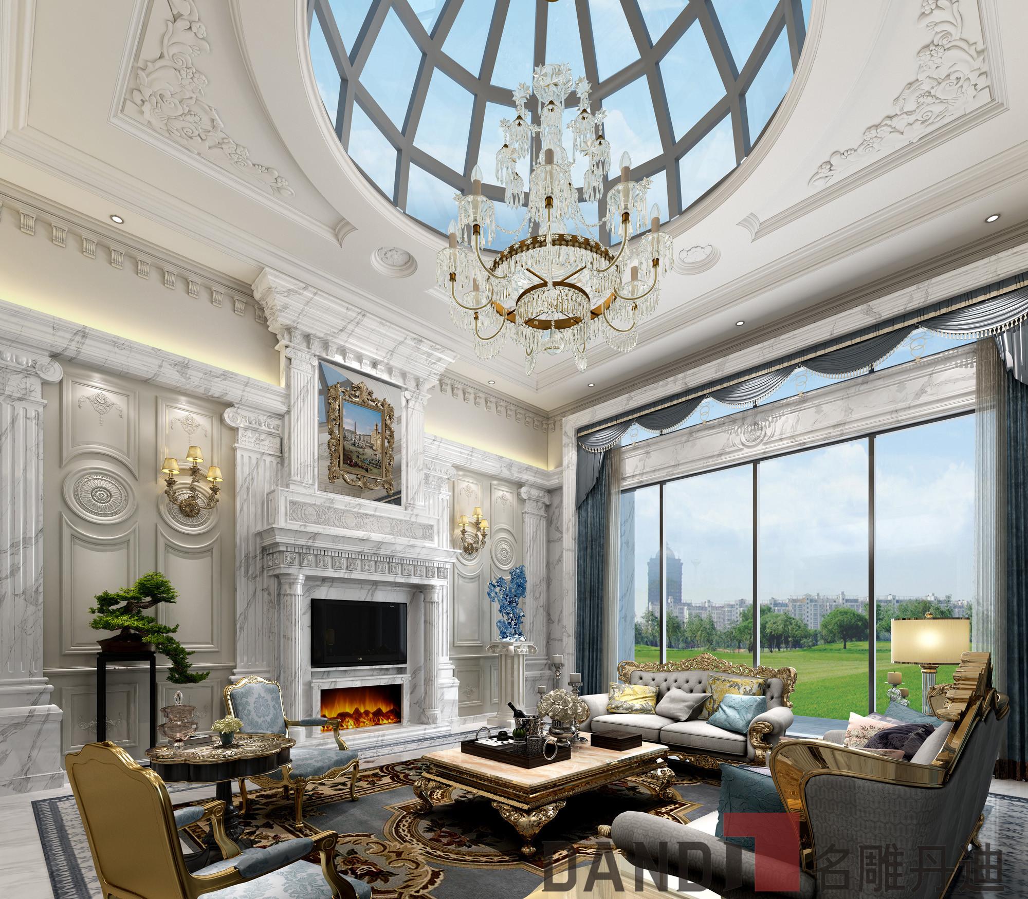 欧式 别墅 白领 小资 客厅图片来自名雕丹迪在欧式风格1000㎡观澜高尔夫别墅的分享