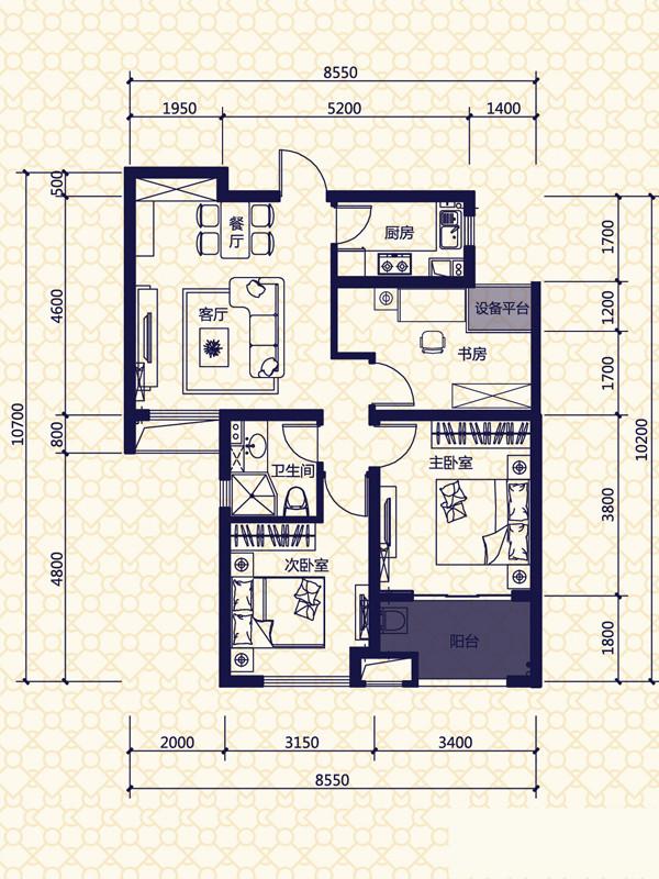 三居 实创装饰 整体家装 定制家具 户型图图片来自合肥实创装饰李东风在90平的法式3居的分享