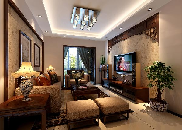 客厅成熟稳重、暖色系墙漆为主基调,电视墙用了木质的传统雕花,在以牡丹花为主的高档墙纸映衬下,与整个客厅融为一体,也起到了突出主题的作用。沙发背景以矩形实木线圈边,与电视背景墙相呼应