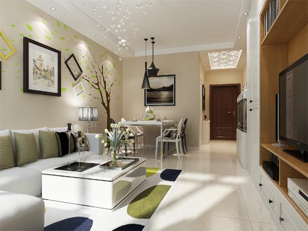 客厅与餐厅是整个在一个空间的格局。电视背景墙使用立柜作为装饰,增添了整个空间的储物功能和实用性。沙发墙运用手绘配合照片墙的表现形式和各种装饰。
