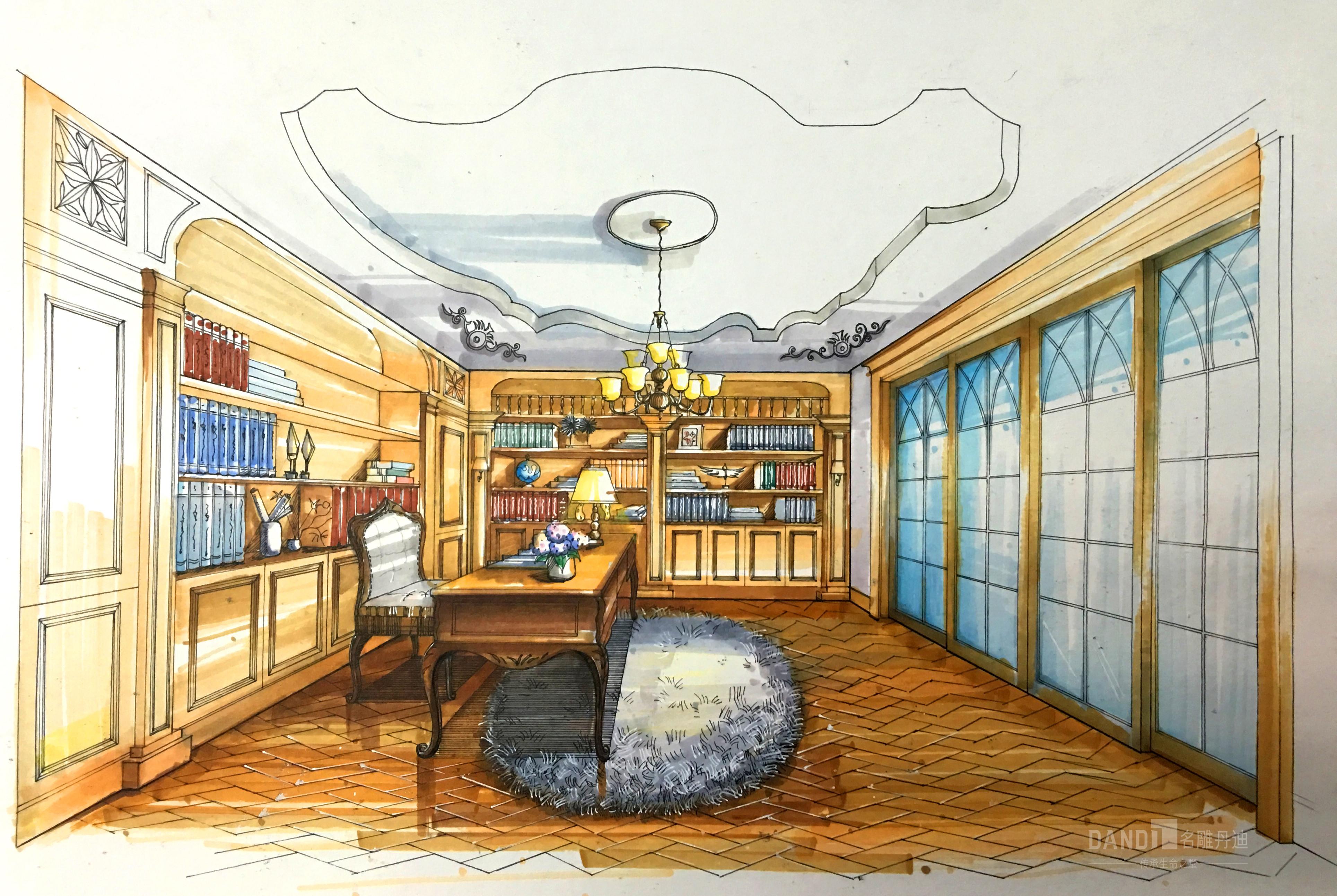 书房图片来自在万科璞悦山新古典风格装修的分享