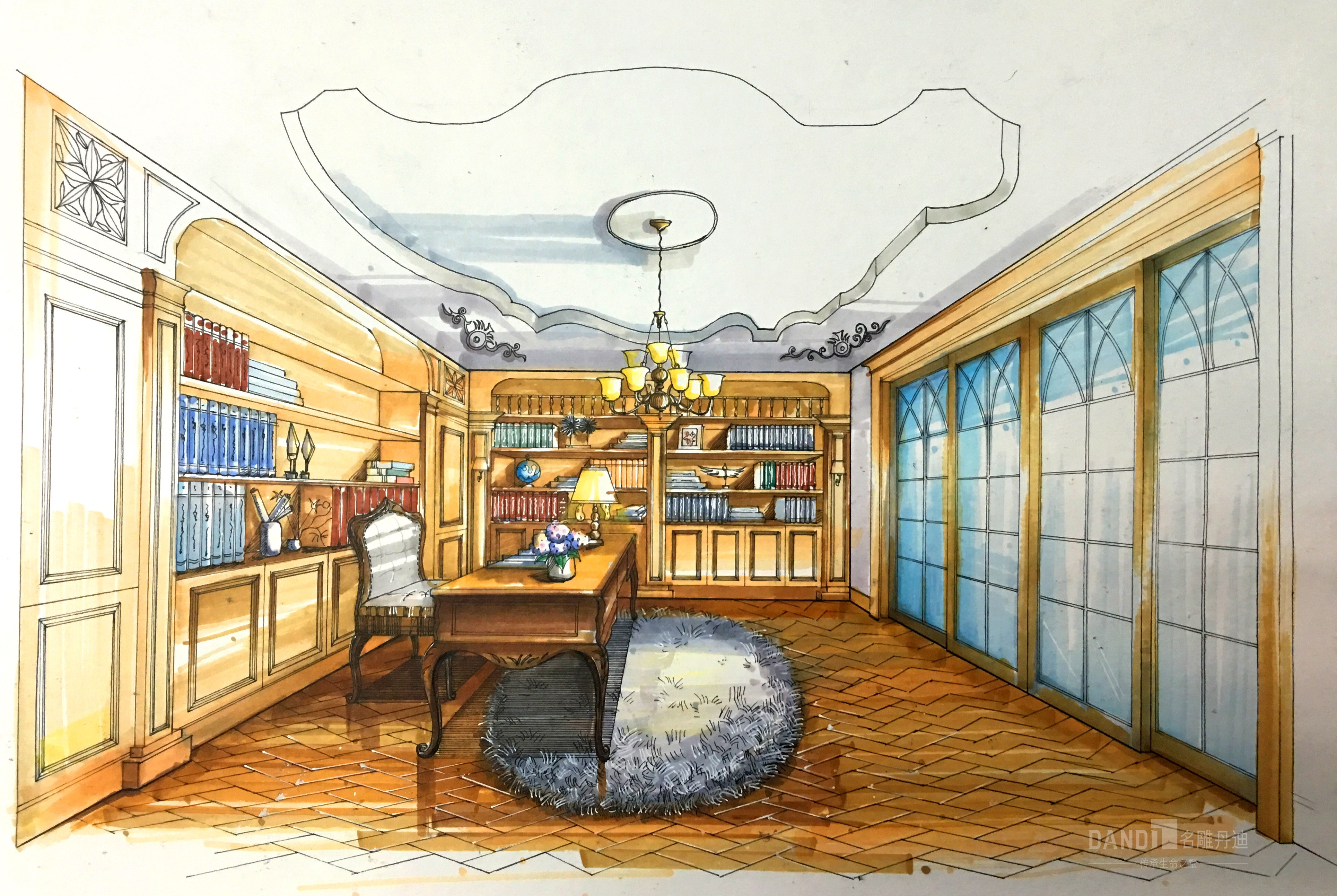 欧式 别墅 白领 书房图片来自名雕丹迪在万科璞悦山新古典风格别墅的分享