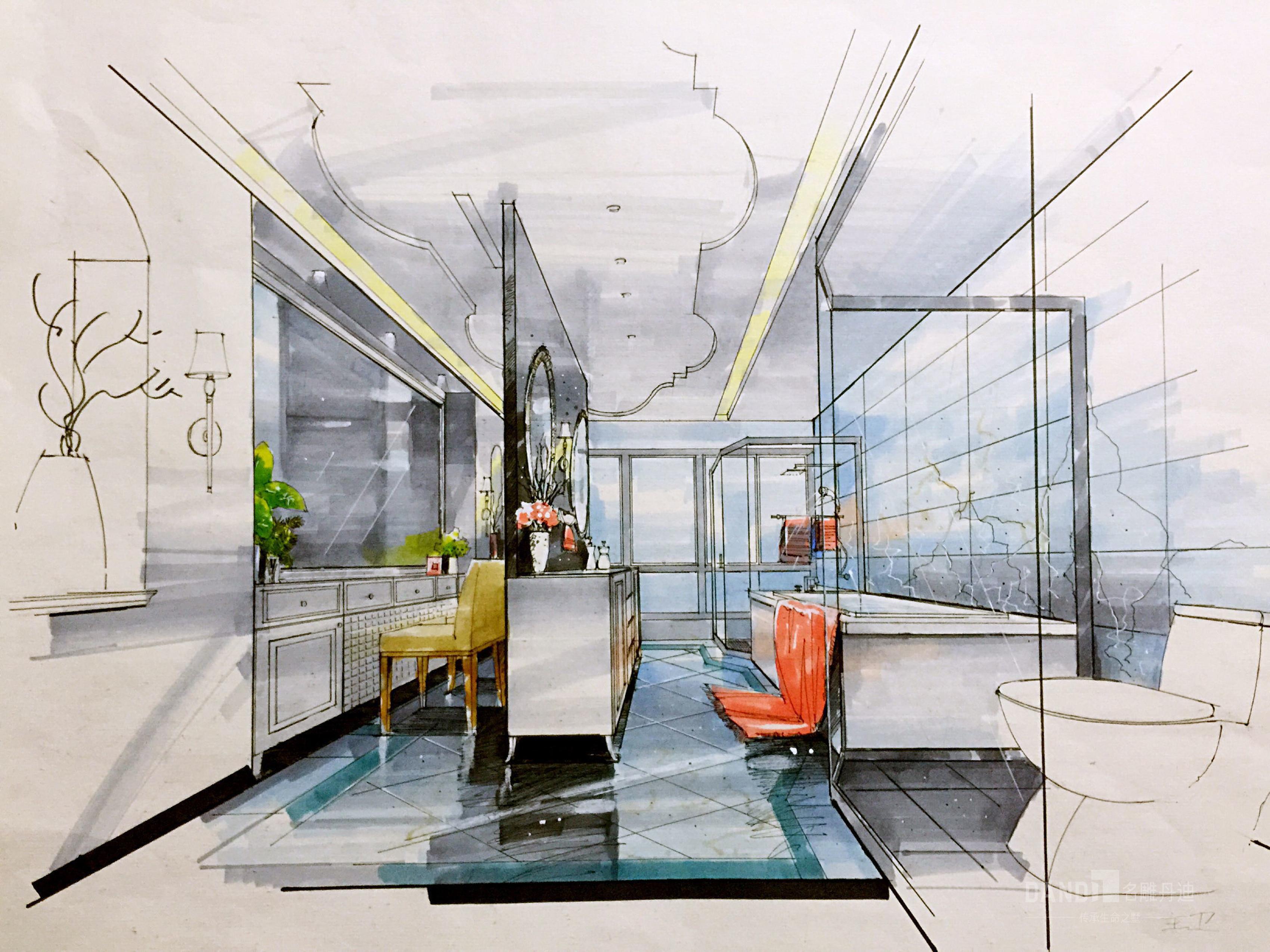欧式 别墅 白领 卫生间图片来自名雕丹迪在万科璞悦山新古典风格别墅的分享