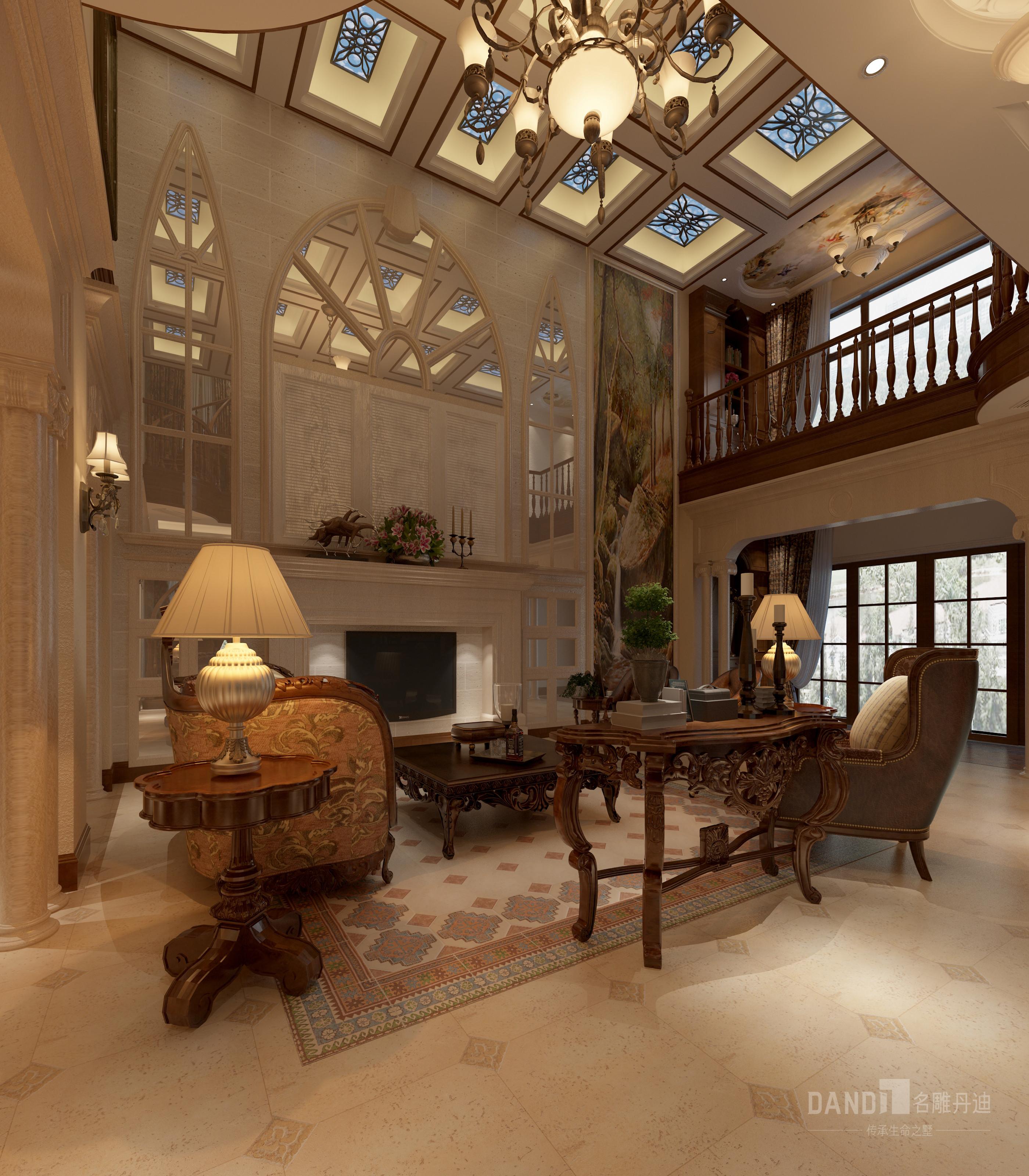 欧式 别墅 白领 客厅图片来自名雕丹迪在万科璞悦山新古典风格别墅的分享
