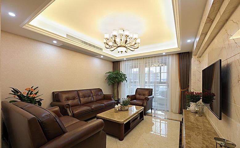 客厅图片来自家装大管家在轻松自在 125平简约美式混搭3居的分享