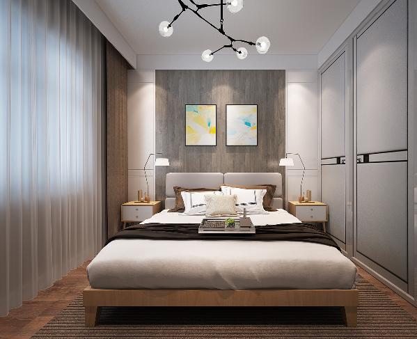 卧室的背景墙和客厅呼应,形成统一空间。