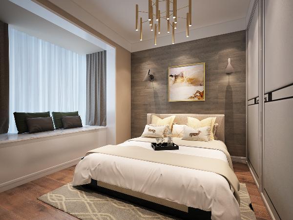 改阳台为飘窗,增加休闲空间和储物空间,由于主卧形状狭长,不能放置固定床头柜,可以使用活动置物架,灵活方便,同时床头灯采用了壁灯。