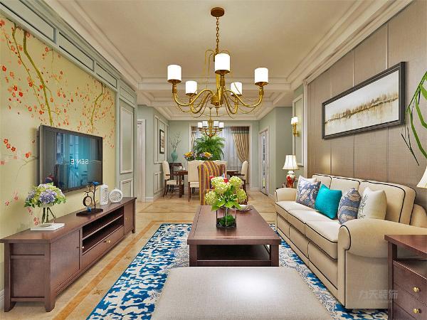 客厅沙发背景墙采用深色护墙板,突显高端,奢华,电视背景墙采用石膏线装饰,大色块的壁纸,凸显整体美感。整体空间更具美感,古典家具的简单化,还有地面的拼花与吊顶装饰相呼应。