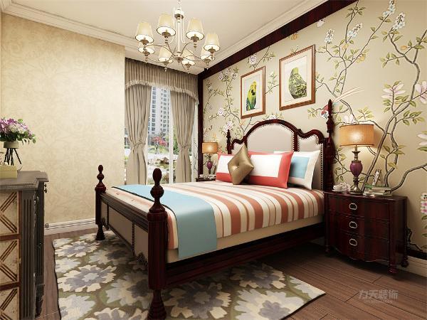 主卧布置温馨,美式家居的布置较为温馨,作为主人的私密空间,主要以功能性和实用性为重点,壁纸和窗帘等装饰上用色统一。
