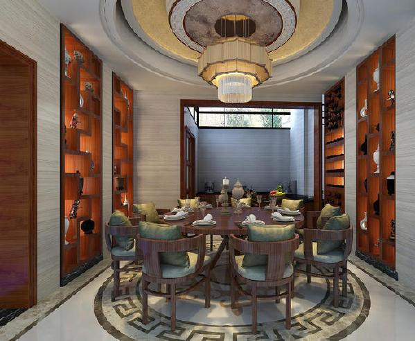 保利溪湖别墅400平中式风格装修餐厅