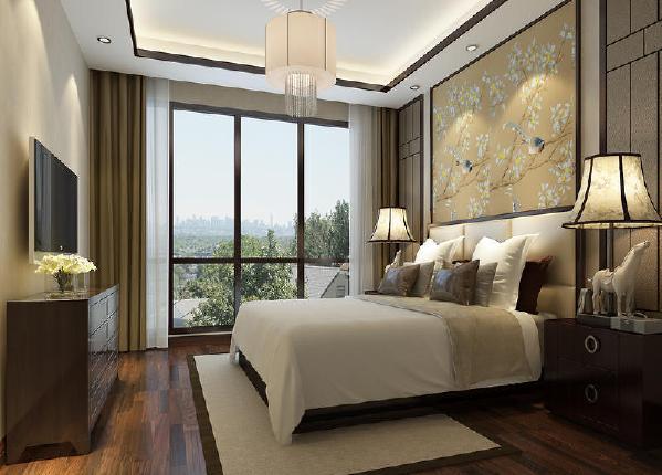保利溪湖别墅400平中式风格装修卧室