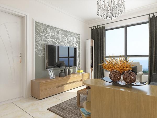 客厅沙发与餐区之间设计了矮柜,既能储物,又起到装饰作用,同时也作为客餐的一个分区。