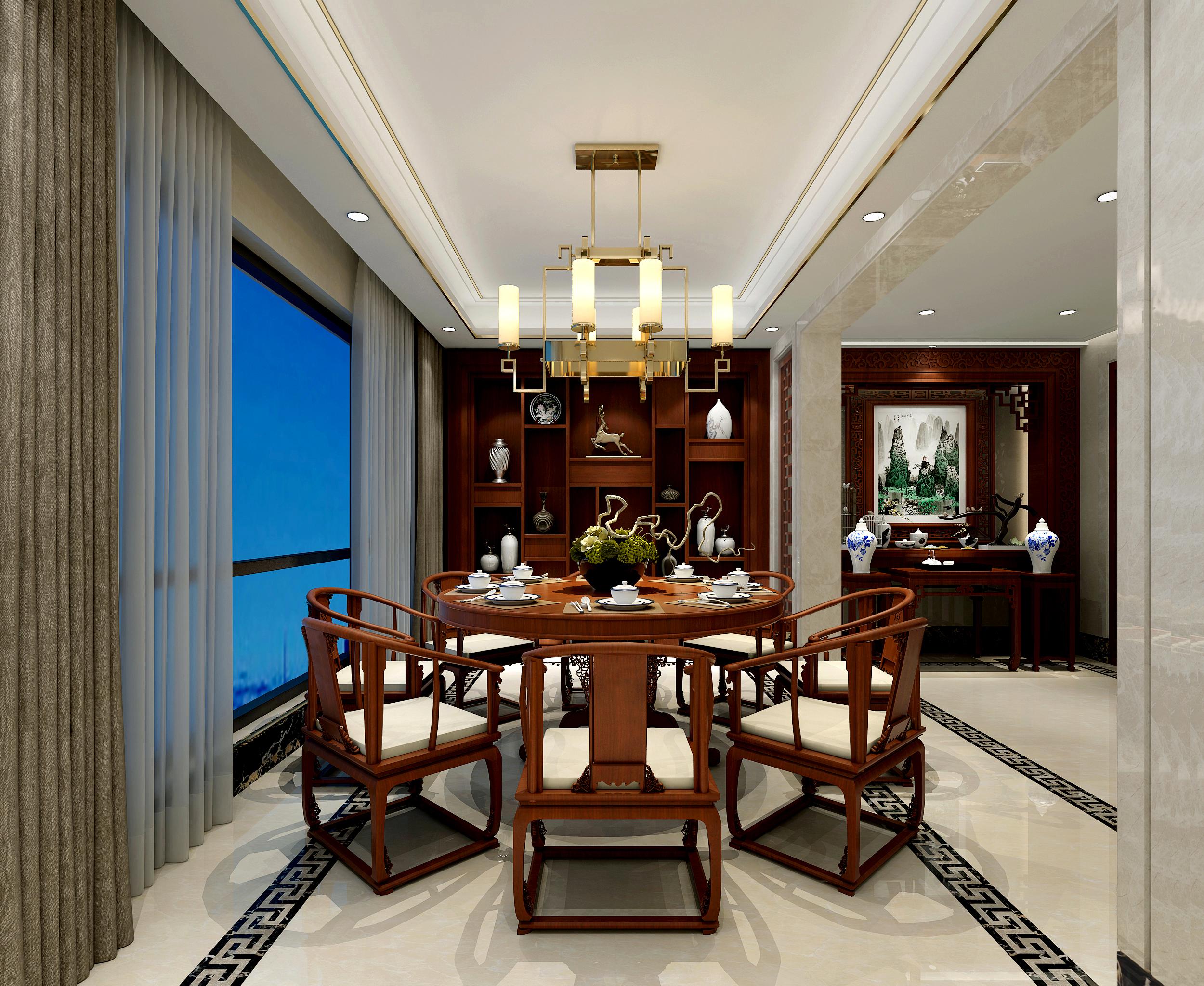旧房改造 白领 别墅 中式 餐厅图片来自在熙龙湾中式风格装修的分享