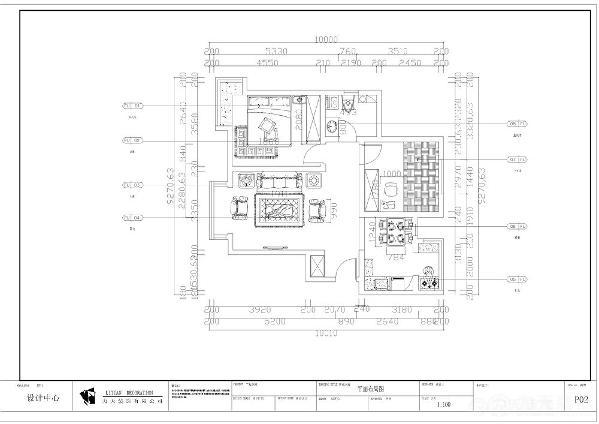 该户型彩楼新庄园两室两厅一厨一卫92㎡。