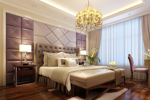 主卧色彩、材质和整体风格统一,皮质软包和客厅呼应,柔和的藕荷色和米黄色,配以紫粉色,营造出浪漫的氛围。金属质感的床头灯和床头柜,呈现一种混搭风味,丰富了空间内容。