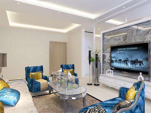 在功能方面,客厅是整体品味的象征,体现了客户的品格,地位。也是交友娱乐的场合,电视背景墙采用石膏板和镜子做的几何造型,既简单又大方,配上顶部的灯光。