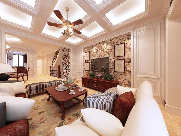 书香气息浓重的客厅,彰显主人气质与内涵。吊顶为井子格灯池吊顶,地面采用简单铺装工艺。布艺的沙发靠背搭配木制的沙发扶手的沙发,质朴沉稳,温馨舒适。脚下踩着软软的地毯。