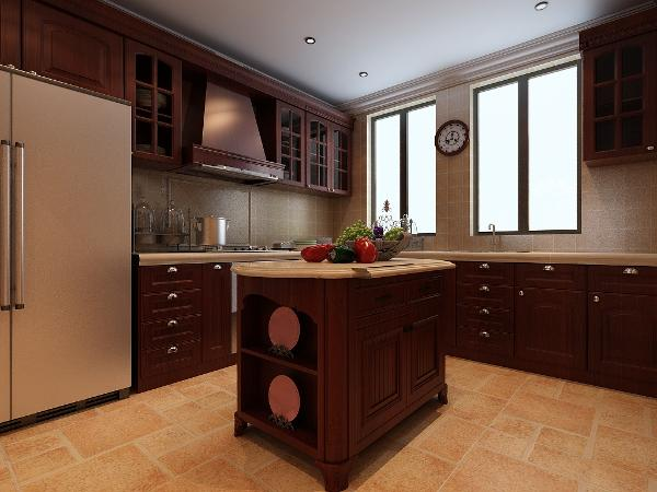 采用实木橱柜,色彩稳重,造型极有空间张力。