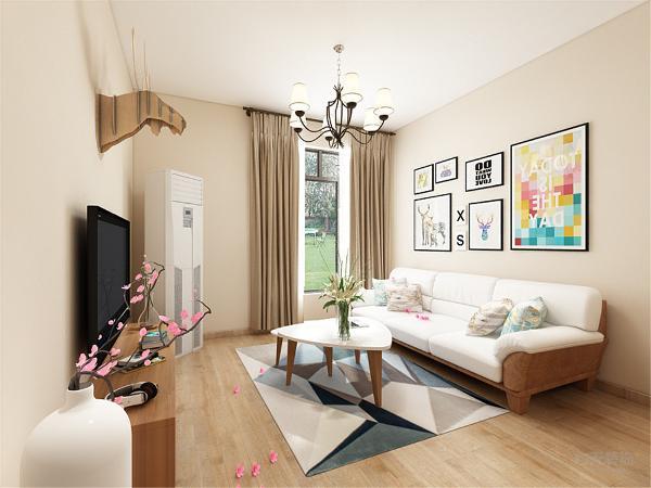 客厅的空间非常充足,以过道为分界,把客厅分为客厅和餐厅两个功能区,整个空间以淡黄色乳胶漆为背景,配上橡木色和奶白色混合的家具,来营造静谧温馨的意境。