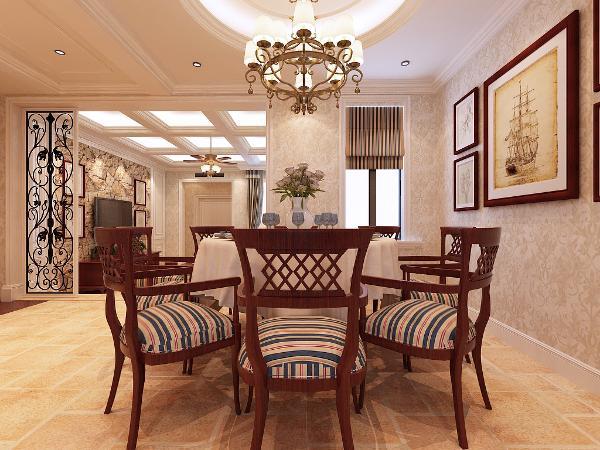 整体布局合理,空间强,吊顶采用的是圆形灯池吊顶,延伸空间。考虑到家中会经常聚餐,为此,餐厅放一套棕色实木餐桌,既大气又美观,功能上坐着也舒适。墙面壁纸花纹造型,丰富了空间层次,色彩温馨舒适。