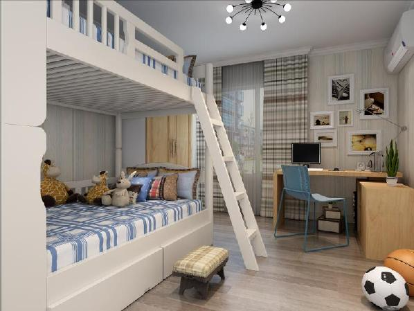 孩子是男孩,喜欢天蓝色,固卧室墙面采用了竖条纹壁纸,床品、抱枕等整体搭配统一。