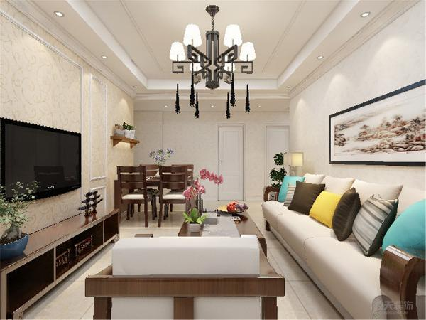 客厅背景墙采用了偏向现代风格的形式作整面墙装饰,增加与其他墙面的对比性与空间感,使空间严肃整洁。沙发墙装饰了色彩个性的衬画,简单大方。家具与整体深浅对比协调统一,营造出温馨典雅的气氛