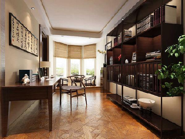 书房十分淡雅,这里没有多余的色彩、布置和家具,没有喧嚣与繁冗,一派宁静悠远。