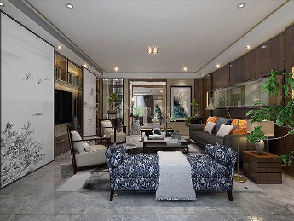 整体软装上我们选择了比较稳重的黑色皮质沙发与传统的花凳还有龙纹图案的塌配合金色装饰使得整个会客空间更富质感和更显稳重。