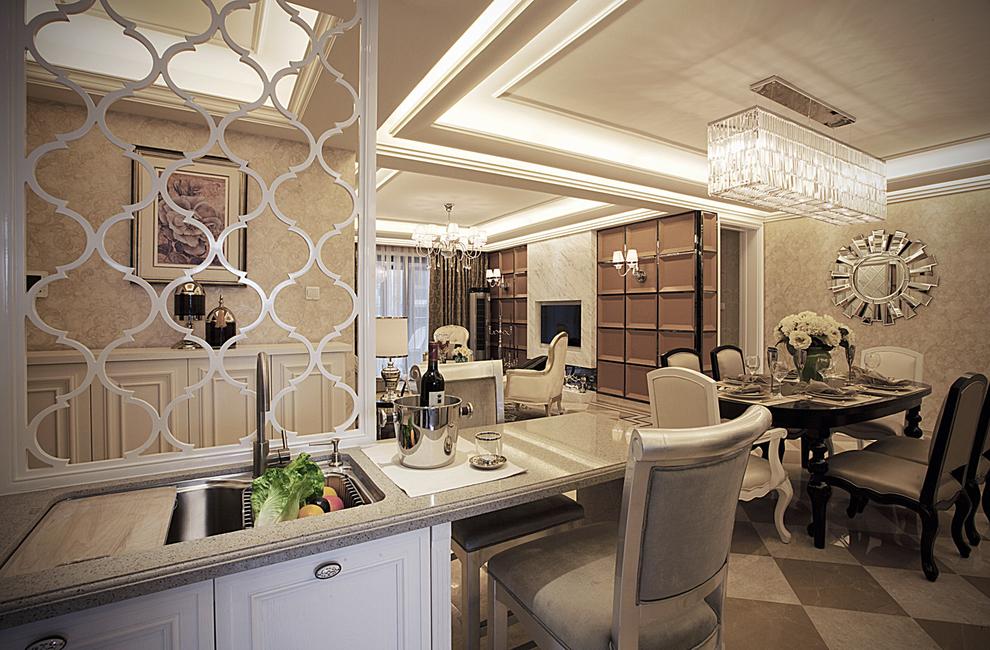 北京 公寓 精装 装修设计 新古典风格 餐厅图片来自北京紫禁尚品装饰刘霞在220平新古典风格作品的分享