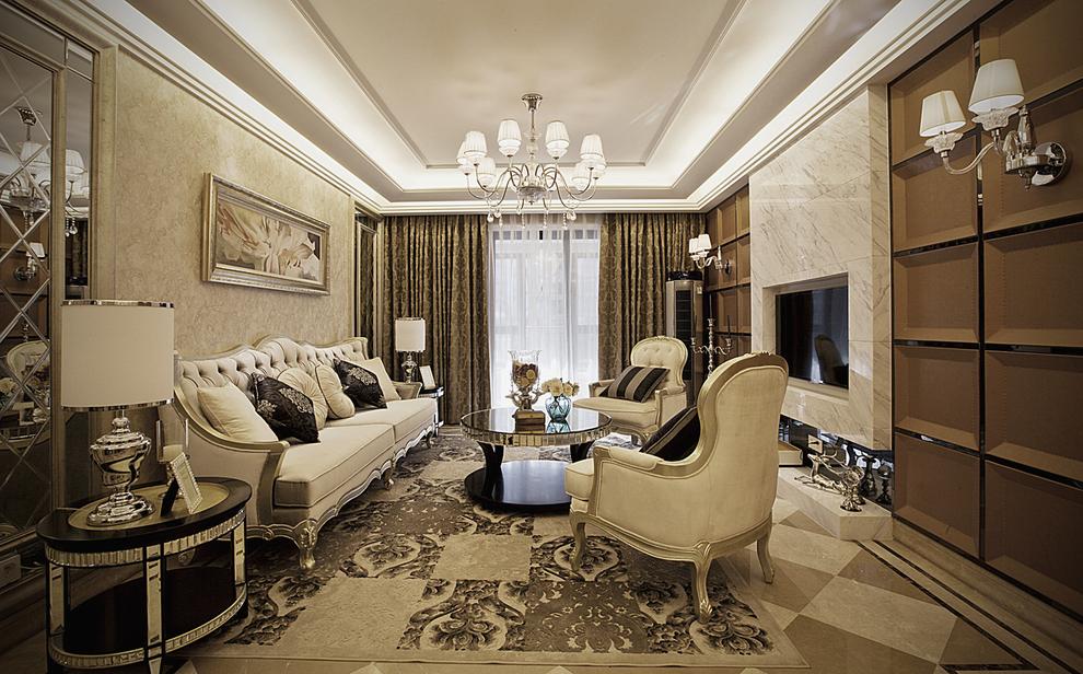 北京 公寓 精装 装修设计 新古典风格 客厅图片来自北京紫禁尚品装饰刘霞在220平新古典风格作品的分享