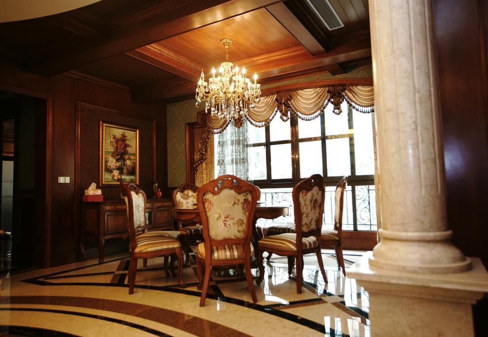 北京 公寓 毛坯 装修设计 美式风格 餐厅图片来自北京紫禁尚品装饰刘霞在170平美式风格大平层完工实景照的分享