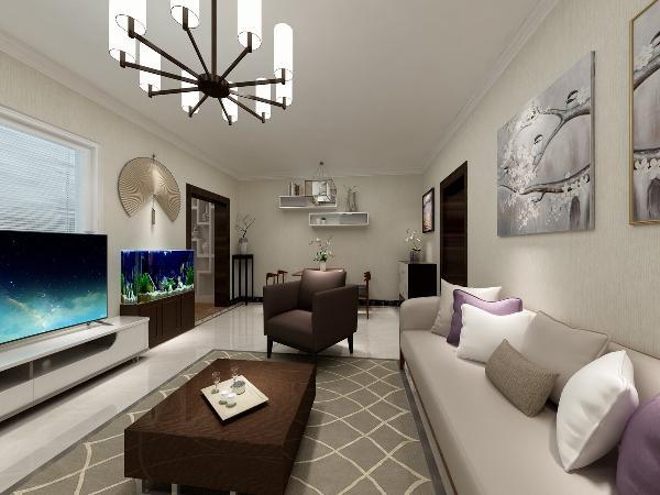 由于本方案是一层,采光不是很好,所以墙面采用的是暖白色增加空间明亮感,在布局上做了调整,通过卧室的开窗和整个垭口的开放,增加了光源,使整个空间都有了自然光的照射